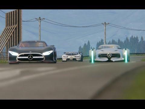 Bugatti Vison GT vs Mercedes-Benz Vision GT vs Mercedes-Benz Silver Arrow Concept at Hihglands