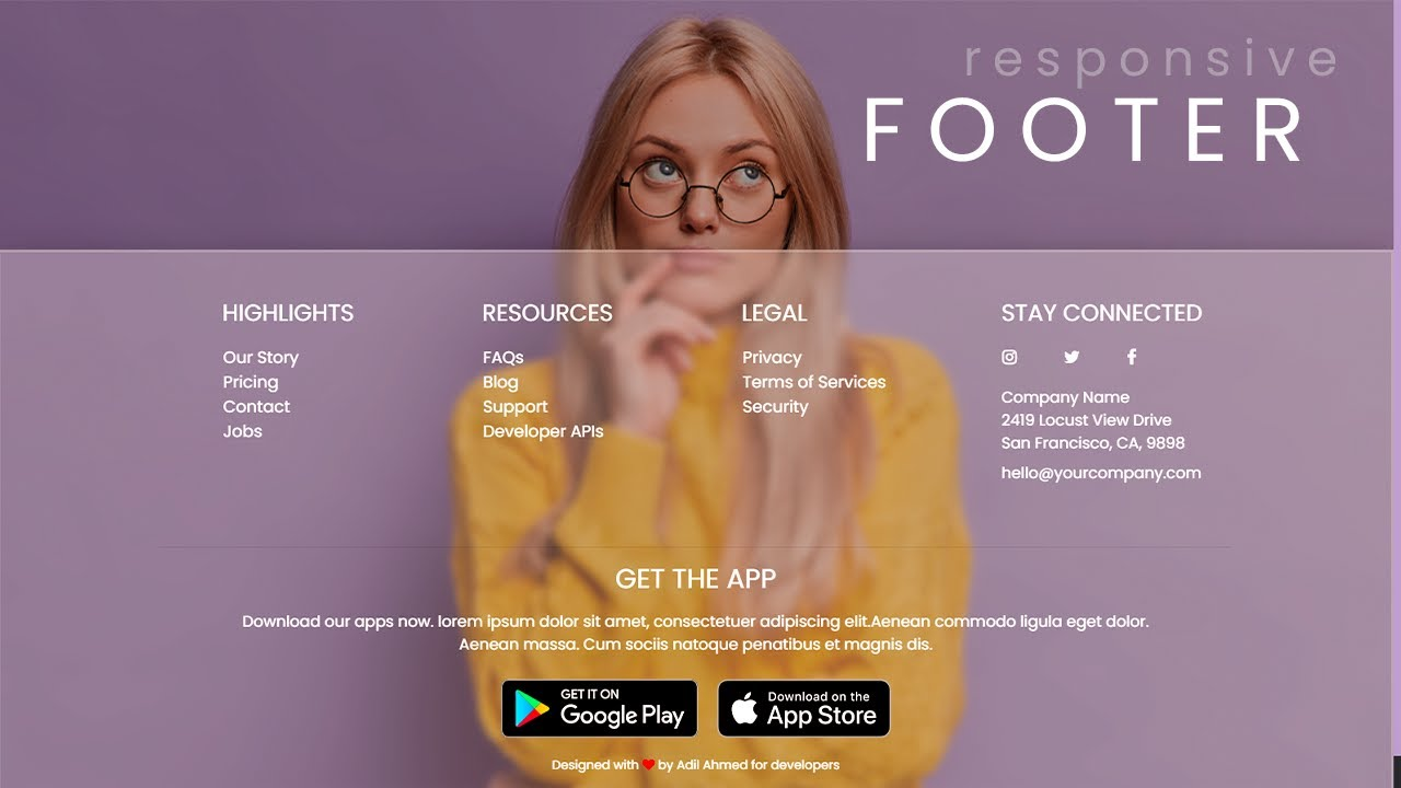 Fully Responsive Website Footer with Animation Design using HTML CSS JS