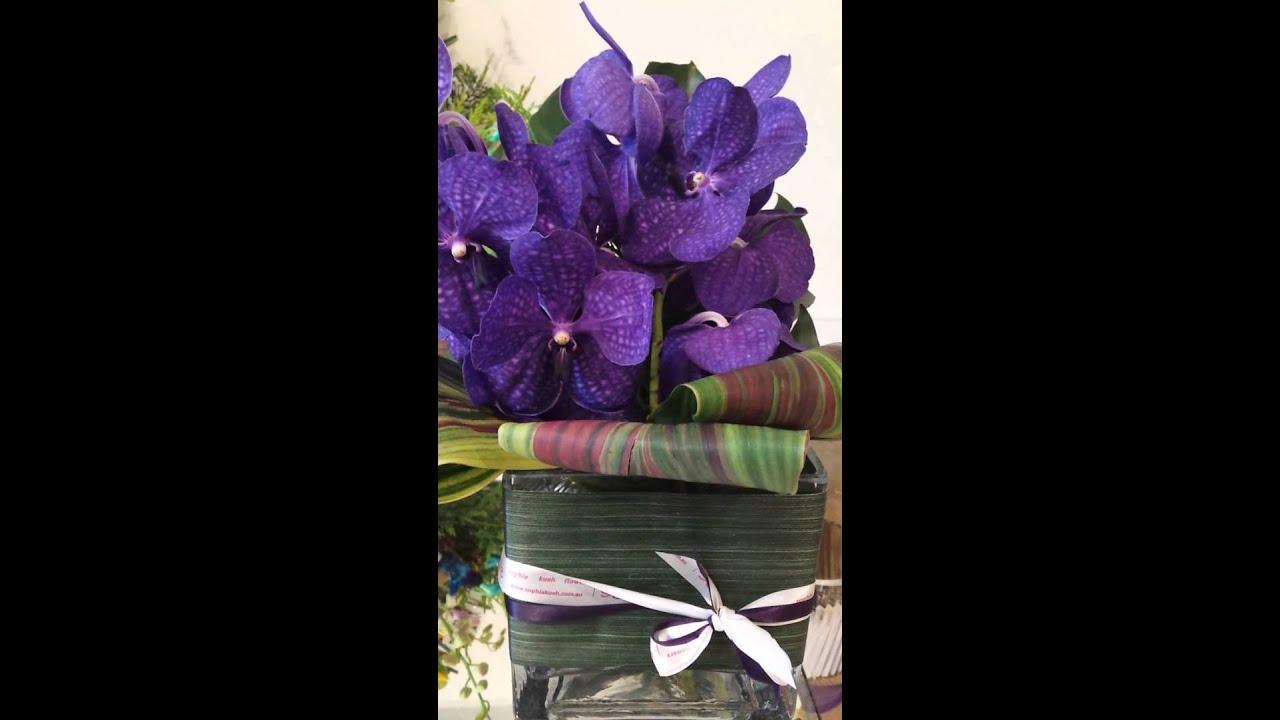 Purple Vanda Orchids In Glass Vase Youtube