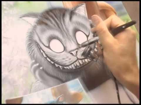 Процесс аэрографии Чеширский кот