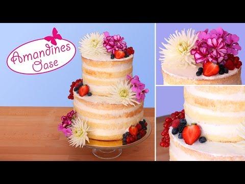 Hochzeitstorte mit frischen Blumen & Beeren | Naked Wedding Cake  | ohne Fondant & Zuckerblumen
