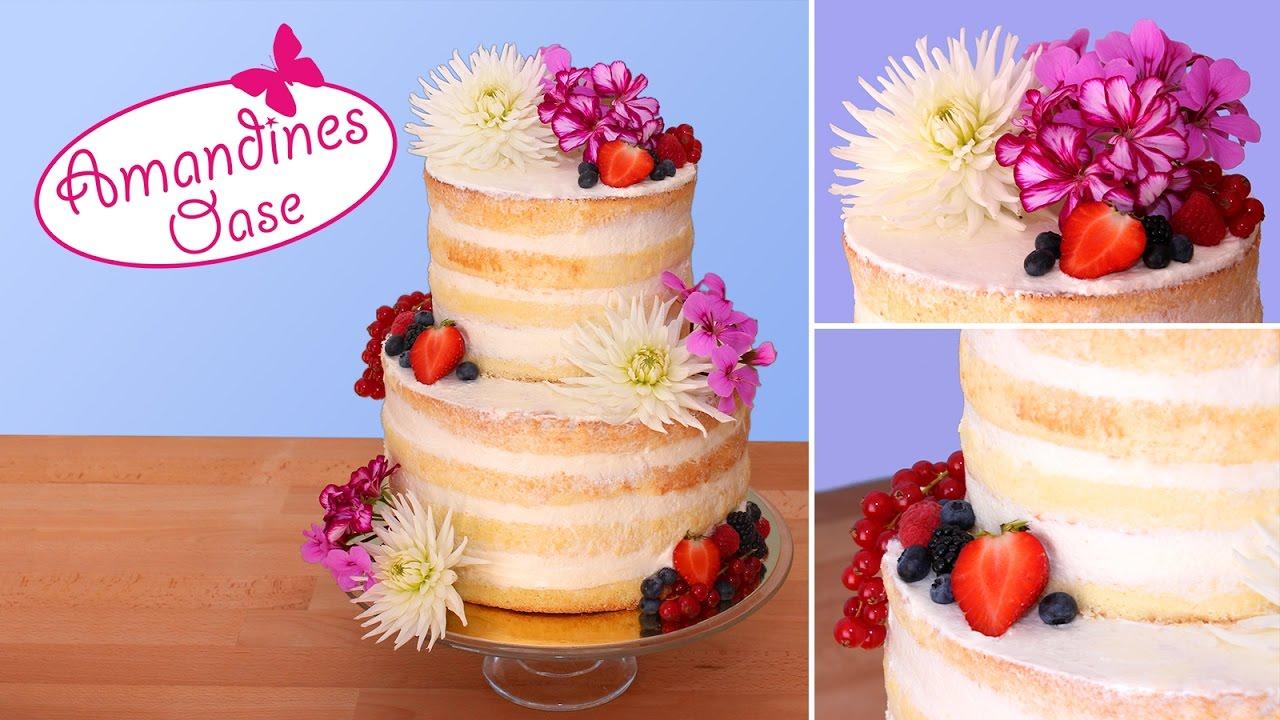 Hochzeitstorte Mit Frischen Blumen Beeren Naked Wedding Cake
