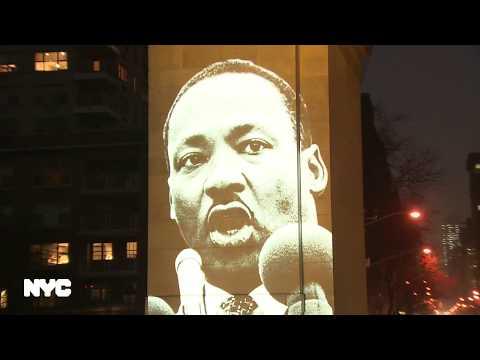 Mayor de Blasio Lights Arch & Plays Dr. Martin Luther King Jr.'s Speech