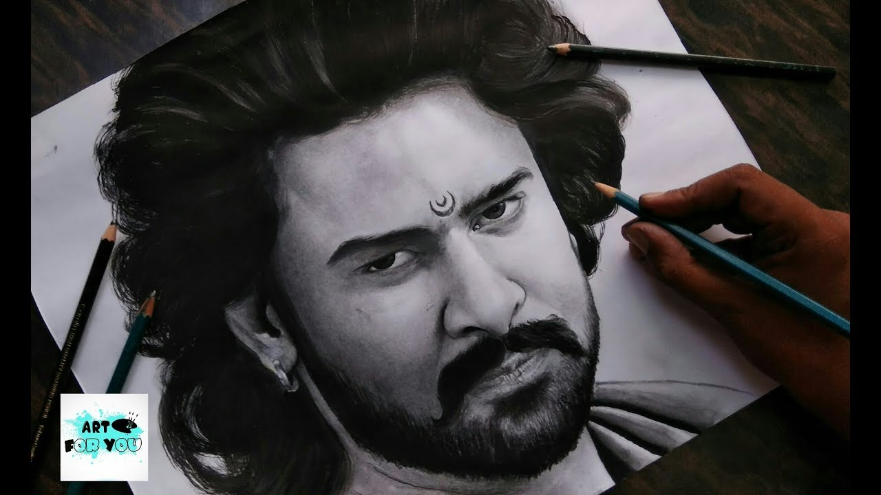 Bahubali drawing realistic sketch bahubali prabhas sketch oil painting canvas art