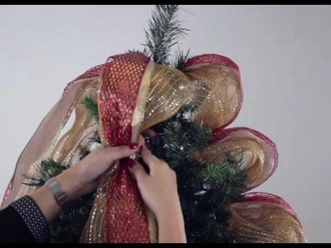 Como decorar el rbol de navidad cintas youtube for Ideas para decorar el arbol de navidad
