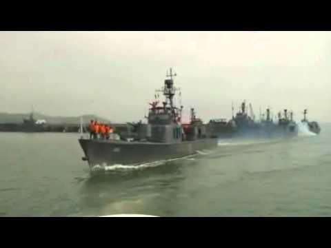 北朝鮮海軍 海上射撃訓練の様子
