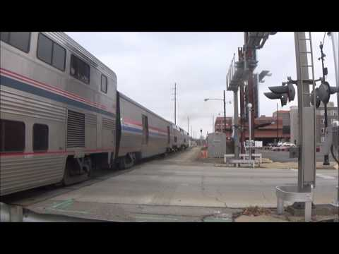 """""""SO MANY 6 CAR CONSIST!"""" Amtrak Trains In Springfield, IL Video 5"""