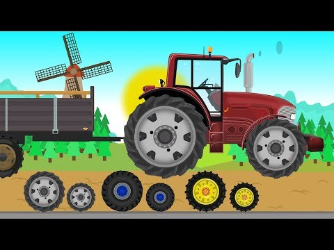 Red fast Tractor and Combine Harvester | Field work  Farmer | Czerwony Traktorek -  Praca na Farmie
