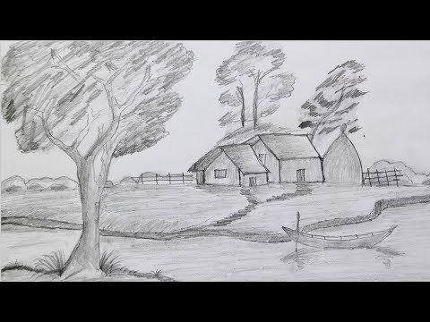 How to draw landscape very easy way /Scenery of beautiful village nature step by step