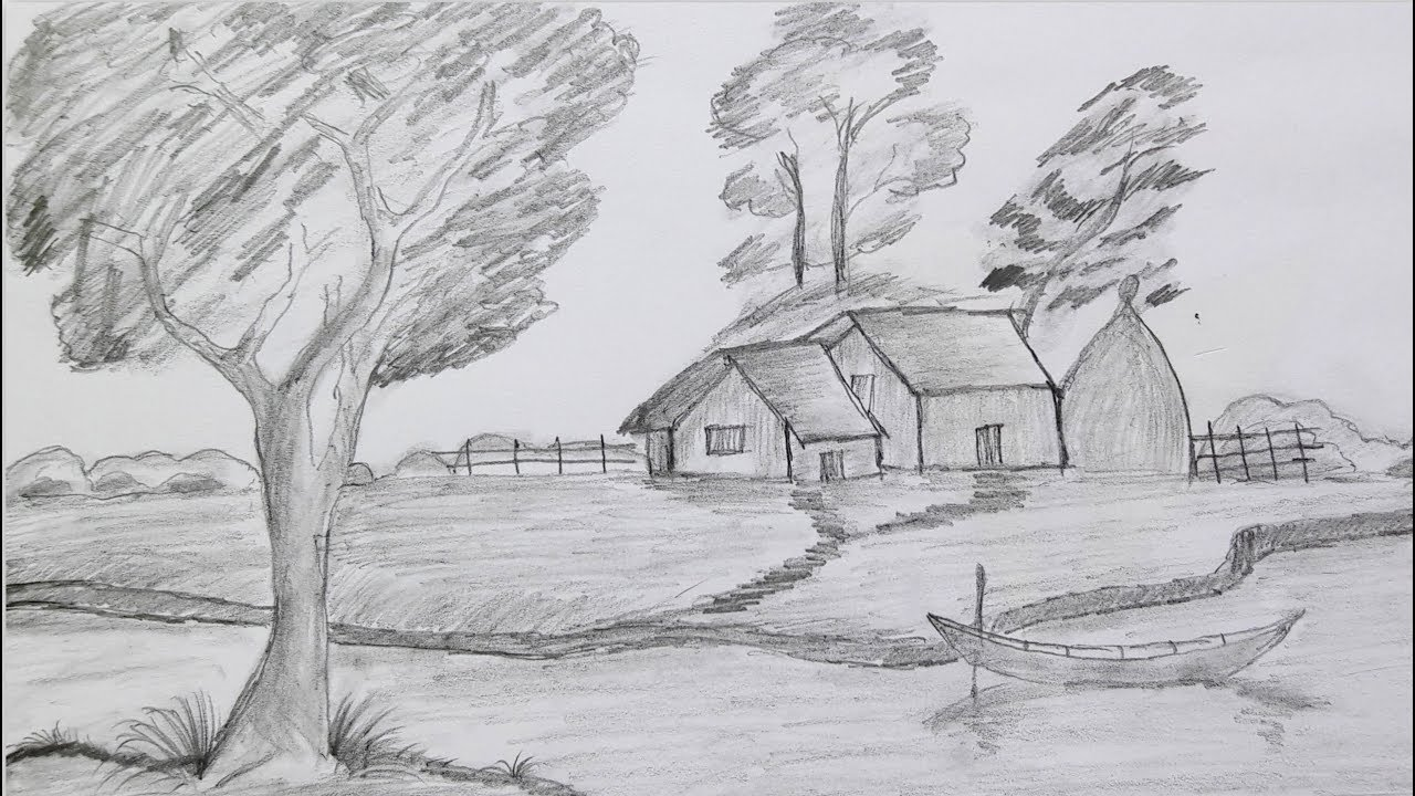 How To Draw Landscape Very Easy Way Scenery Of Beautiful Village Nature Step By Step