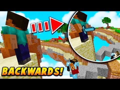 NOOB BACKWARDS SKIN TROLL! - Minecraft SKYWARS TROLLING (HACKS?)