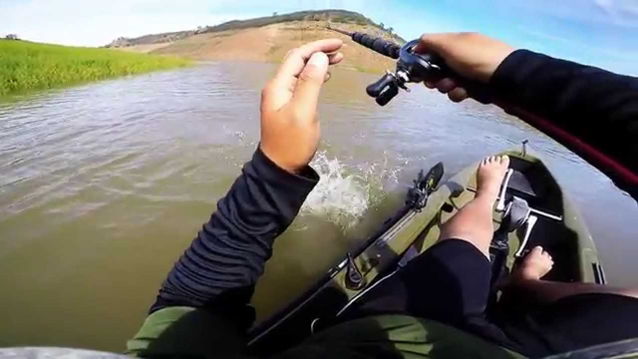 Kayak bass fishing lake mcclure youtube for Lake mcclure fishing report