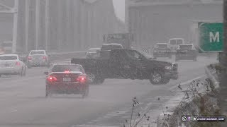 Drivers lose control on icy I-70 in St. Charles, MO - November 11, 2019