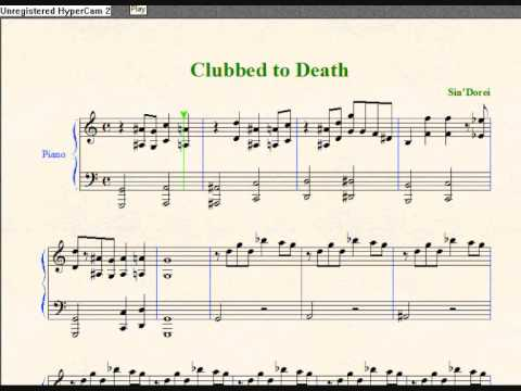 Piano sheet for Clubbed to Death by Rob Dougan