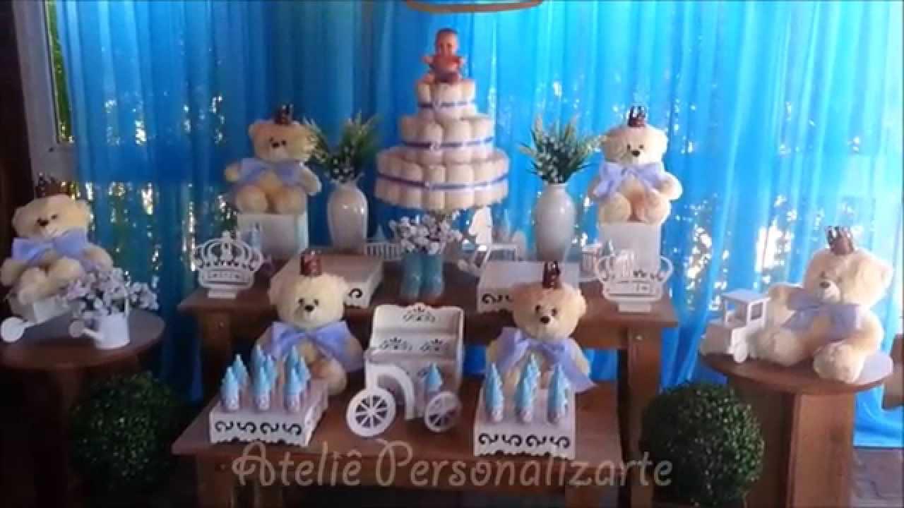 Fabuloso Decoração de chá de bebê Ursinhos Príncipes - YouTube JE14