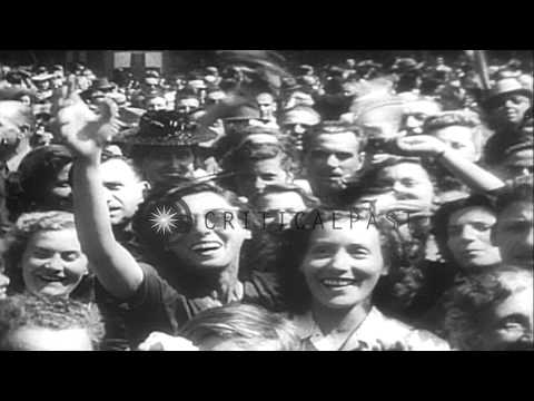 Pope Pius XII addresses a large crowd after the liberation of Rome from German co...HD Stock Footage