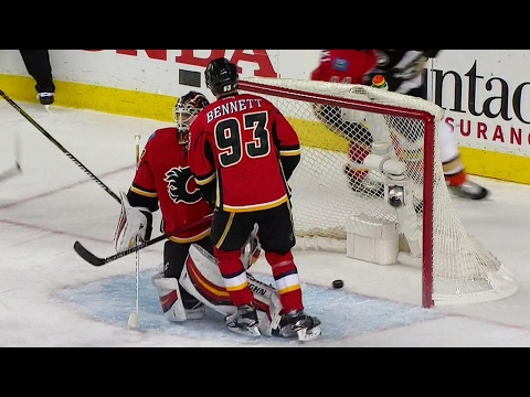Thompson scores a minute after Johnson takes over Flames net