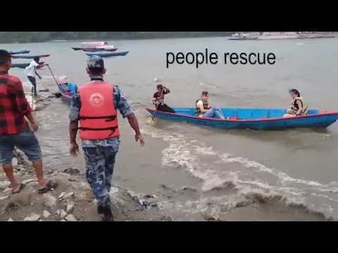Nepali Young boy rescue two people in Extreme Flooding at Pokhara Fewa lake