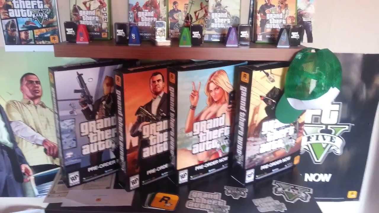 Big GTA V Collection! Pre-Order Stuff and Game Merchandise RARE GTA 5 - YouTube