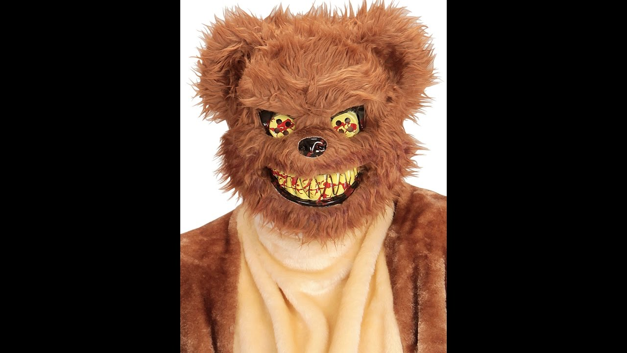 02111 Plush Scary Teddy Bear Mask Youtube