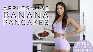 HEALTHY APPLE SAUCE BANANA PANCAKES | EASY BREAKFAST RECIPE | Jen Selter