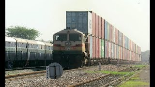 India's Tallest Train : Monstrous Double Stack Container Train with Pune WDG4 : INDIAN RAILWAYS