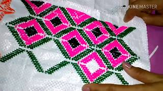 Table mat stitch on plastic Sack. Door mat stitch. Hand embroidery. Supriya Talukder.