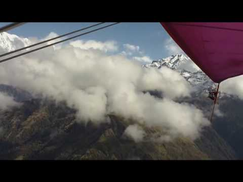 Flying over mountain ranges in Nepal