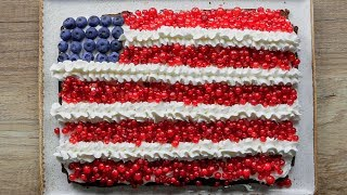 American Flag Brownie Cake