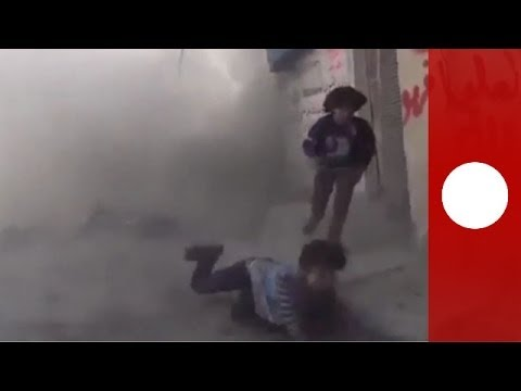 Caught on camera: Bomb goes off as Syria children are interviewed