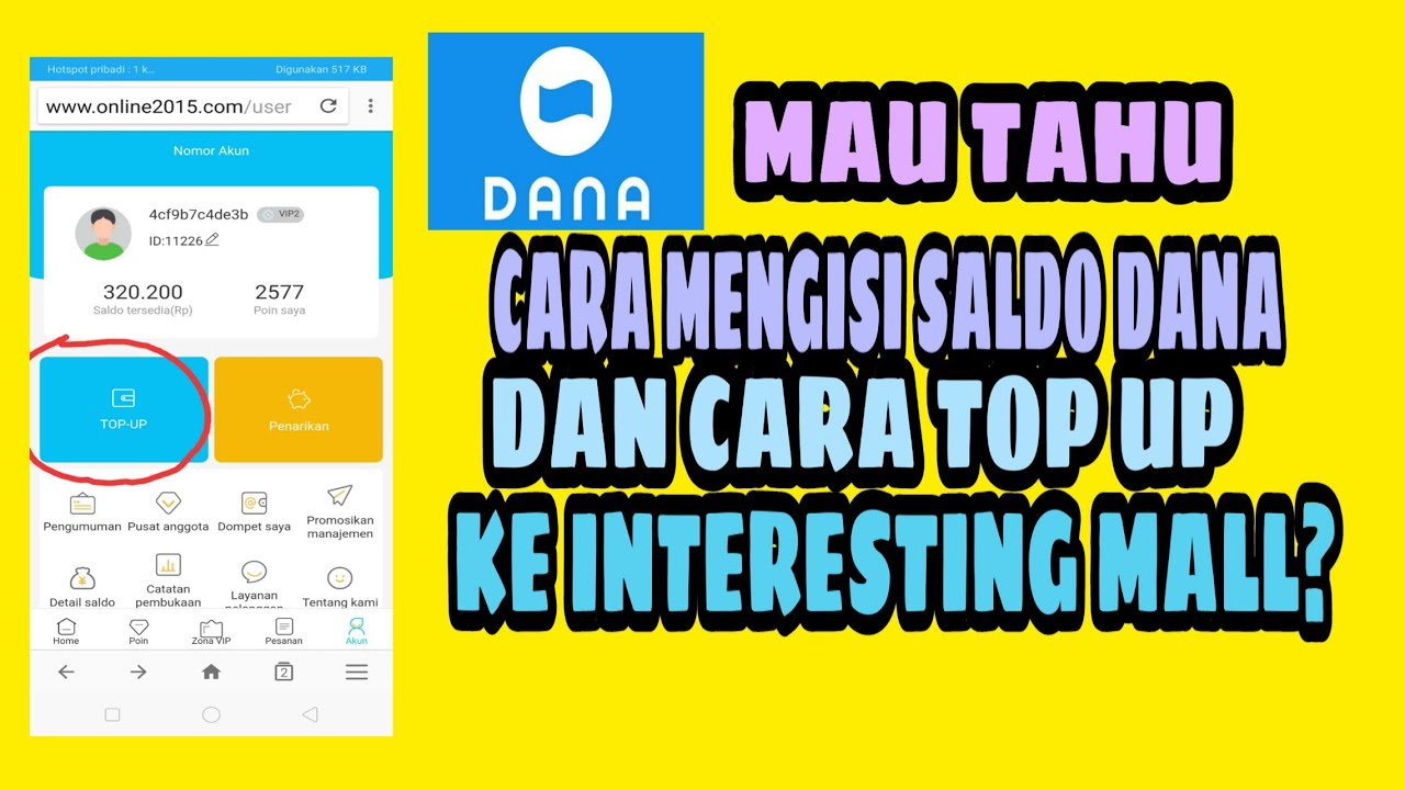 Cara Mengisi Saldo Dana Dan Cara Top Up di Website Interesting Mall