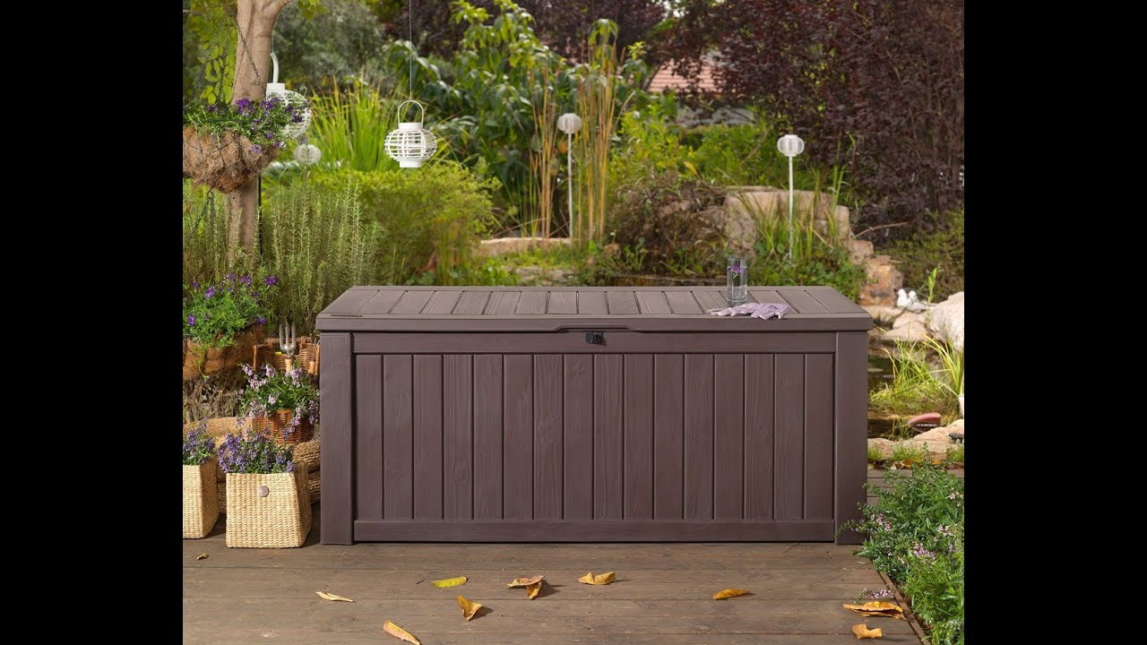 Garden storage garden storage bench youtube for Garden decking homebase