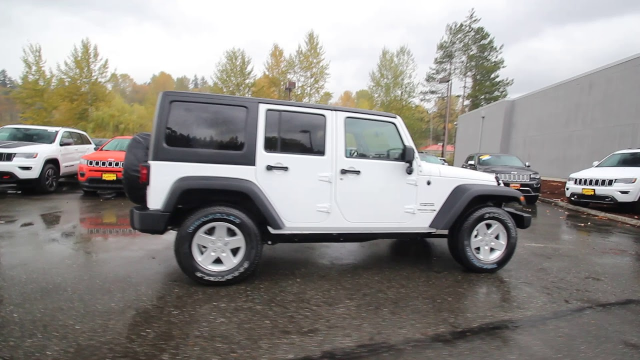2018 Jeep Wrangler Jk Unlimited Sport 4x4 White