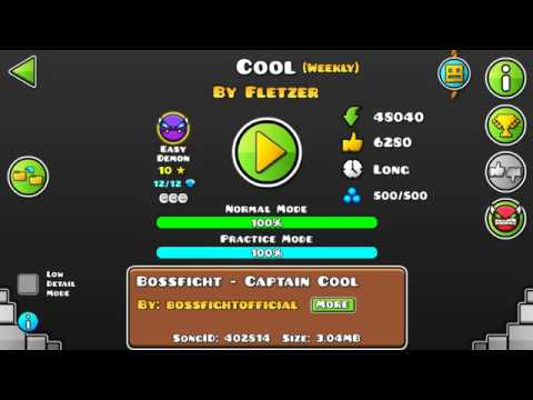 [GD] COOL BY FLETZER (WEEKLY DEMON) (ALL COINS) | GEOMETRY DASH 2.13