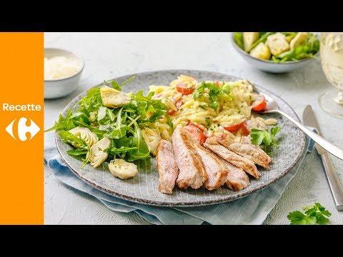 escalope-de-veau-et-pâtes-grecques-à-la-crème-de-parmesan