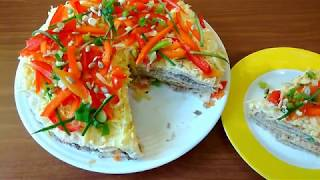Салат на вафельных коржах Палитра вкуса