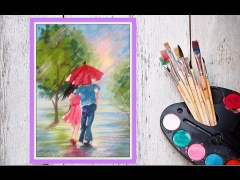Уроки рисования! Как нарисовать парочку под зонтом гуашью! #Dari Art