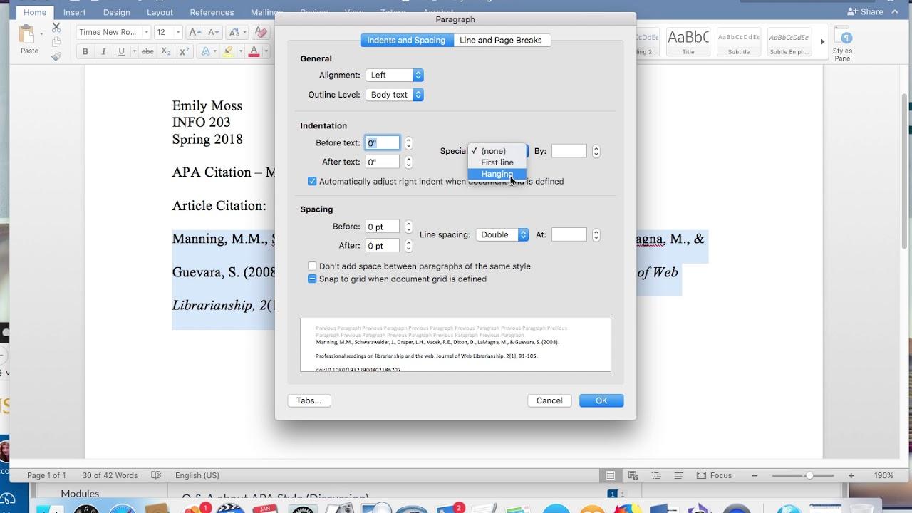 hanging indent citation in apa format tutorial microsoft word