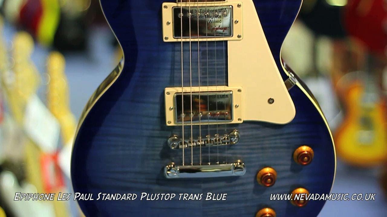 Epiphone Les Paul Standard Plustop Trans Blue Quick Look Youtube