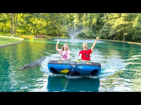 TUBING WITH MONSTER IN POND!!