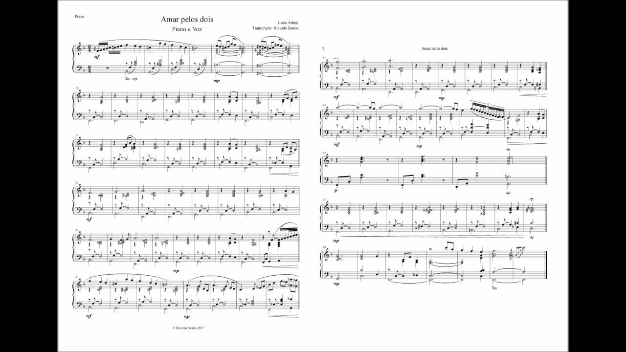 Amar Pelos Dois Score Piano Voz Youtube