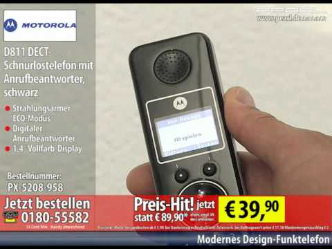 Motorola D811 DECT-Schnurlostelefon mit Anrufbeantworter, schwarz