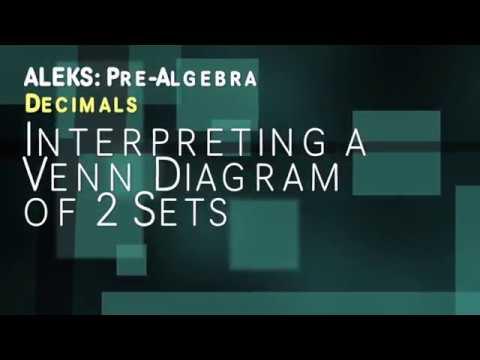 Aleks Pre Algebra Decimals Interpreting A Venn Diagram Of 2 Sets