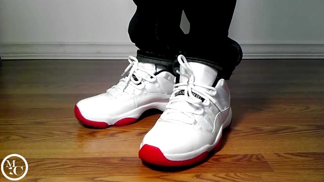5e8a02ea6b0ad Air Jordan 11 Low White Varsity Red - YouTube