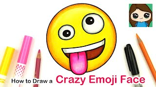 How to Draw + Color the Crazy Wacky Emoji Face Easy