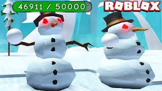 HOW TO KILL THE STRONGEST EVIL SNOWMAN WITHOUT DYING in ROBLOX SNOWMAN SIMULATOR