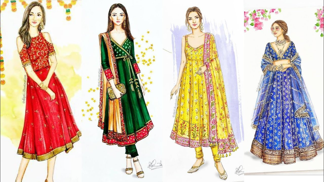Beautiful Creative Dress Designing Detailing Ideas With Sketches Youtube