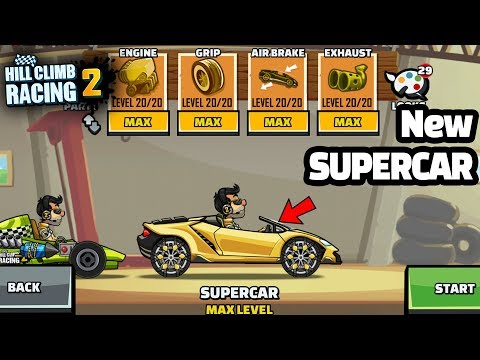 Hill Climb Racing 2 New Vehicle Lambo SUPERCAR Fully Upgraded