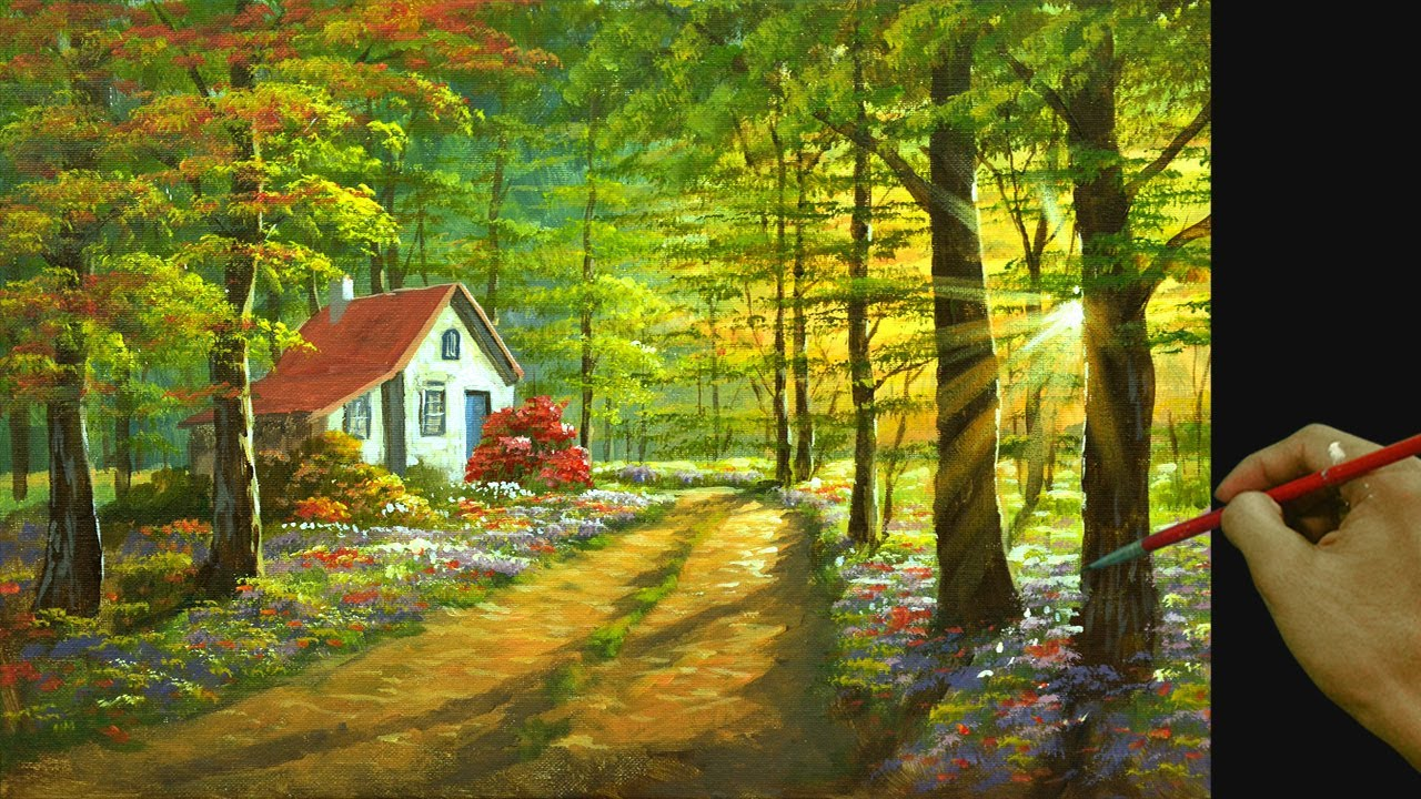 Acrylic Landscape Painting in Time-lapse / House in Colorful Forest / JMLisondra