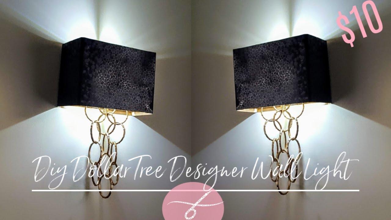 DIY Dollar Tree Glam Wall Light - DIY Elegant Wall Sconce - Wall Lamp - Home Decor DIY - Unique $10